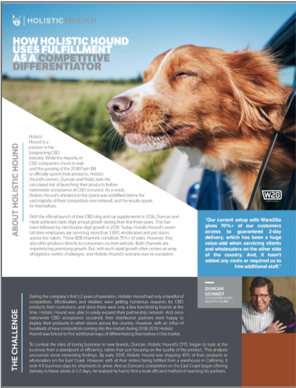 How Holistic Hound's CBD distribution was aided by Ware2Go's on-demand warehousing and fulfillment network
