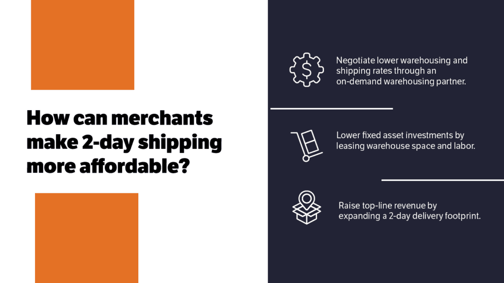 On-demand warehousing, leasing space and labor, and increasing revenue make fast shipping more affordable